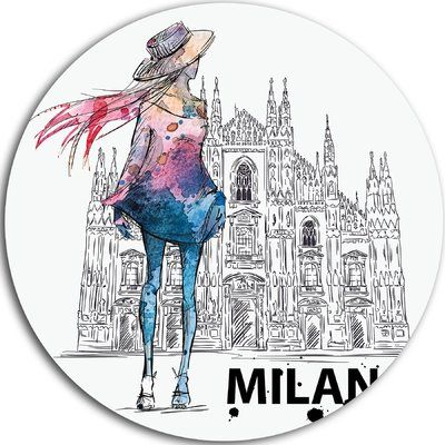 "DesignArt 'Girl on a Milano Duomo' Graphic Art on Metal Size: 23"" H x 23"" W x 1"" D"