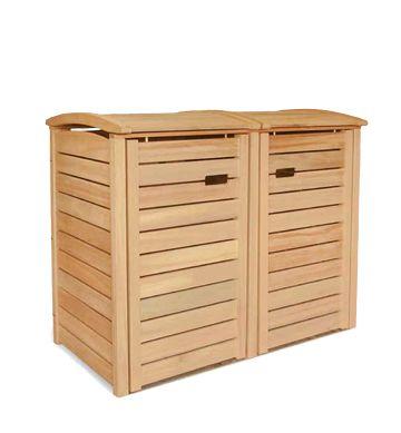 2 x 120 Liter Mülltonnenverkleidung CLASSIC - Holz Natur