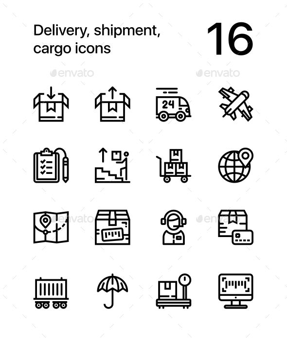 Delivery, Shipment, Cargo Icons for Web and Mobile Design Pack 2 – Icons