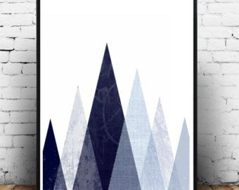 Geometric print Retro wall art Mid century modern art by handz