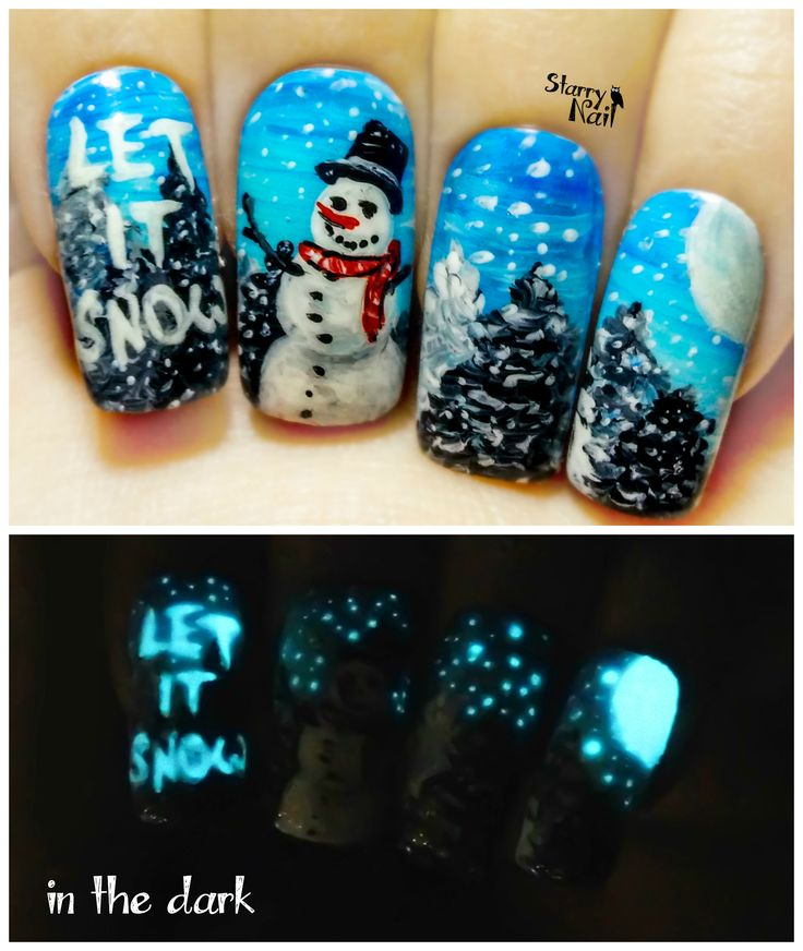 Snowman Nail Art Tutorial: Snowman ⎮ Glow In The Dark Christmas Freehand Nail Art
