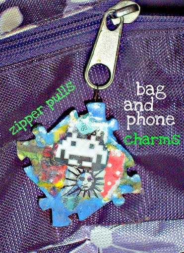 Space invader retro zipper-pull. Handmade, one of a kind jewelry, recycled mixed media. Can be custom ordered as pin, pendant, zipper pull, shoe charm, magnet or other item. All recycled media, no scans or copies.  ONE of a kind art for about $12.  If you like em, please share em.  love, ellethekitty