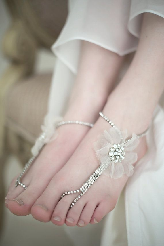 Barefoot Wedding Sandals Beach Wedding Sandals by PowderBlueBijoux