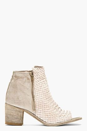 Grey Leather Basketwoven Cut-Out Skip Boots