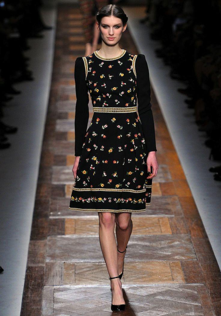 Runway Embroidery Black Organize Dress