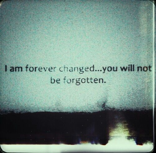 I am forever changed... you will not be forgotten. <3