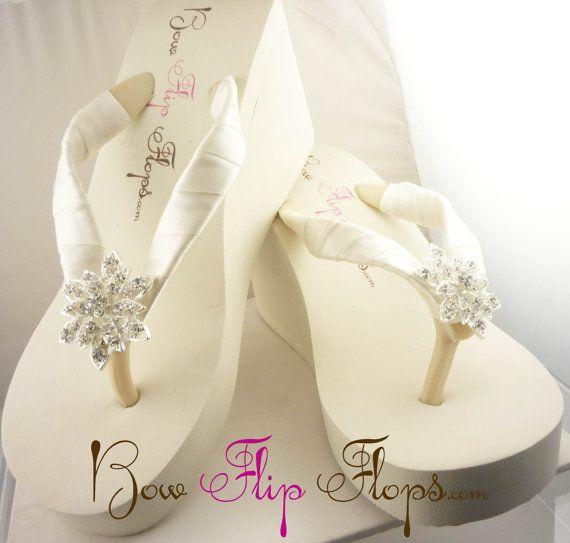 Bridal Ivory Flip Flops Wedge Rhinestone Flower Bling Satin Jewel Bride Wedding Ribbon Bow, Great for brides, bridesmaids on Etsy, $35.17 AUD