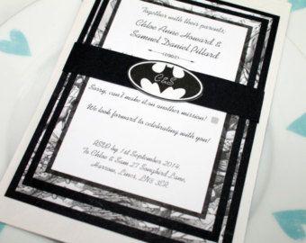 Black And White Marvel/DC Comic Book Wedding Invitation Set