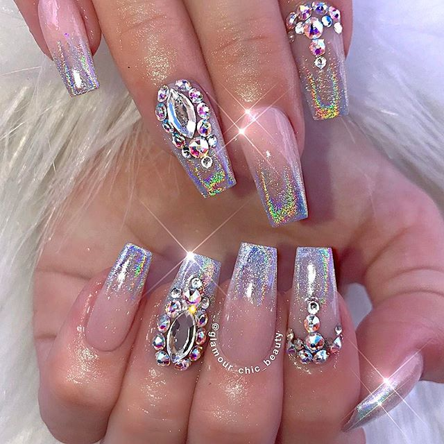✨Pinterst @Blessed187✨. 3d NailsCute NailsPretty ... - Top 25+ Best Rhinestone Nails Ideas On Pinterest Rhinestone Nail
