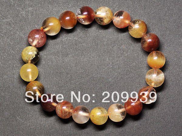Huij 00465 натуральный смешанный красное золото рутил кварцевые рог изобилия исцеление браслет 9.5 - 10 мм