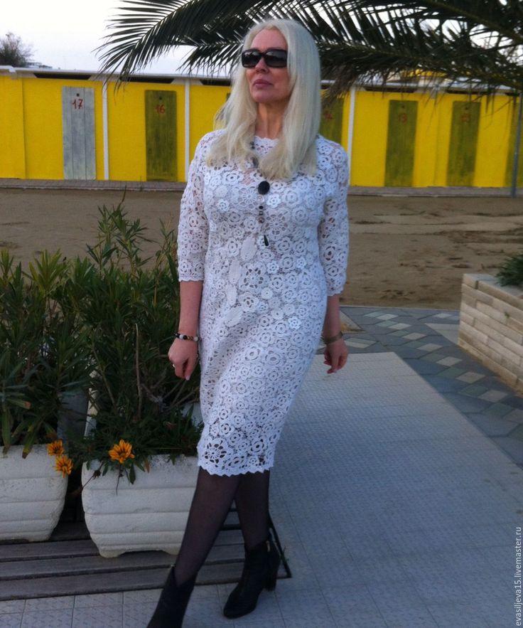 Купить Шерстяное платье. Ирландское кружево. Авторская модель. - платье, вечернее платье, купить платье