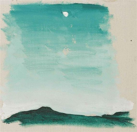 Georgia O'Keeffe. Untitled (Pedernal) 1958, paint on canvas. This artist used many different values of green when creating this piece.