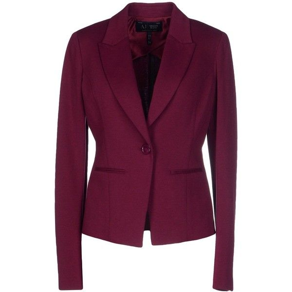 Armani Jeans Blazer ($170) ❤ liked on Polyvore featuring outerwear, jackets, blazers, garnet, long sleeve jersey, armani jeans jacket, jersey jacket, purple blazer jacket and single breasted jacket