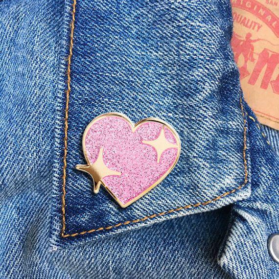 Sparkle Heart, Hard Enamel Pin, Jewelry, Flair, Emoji, Gift (PIN103)
