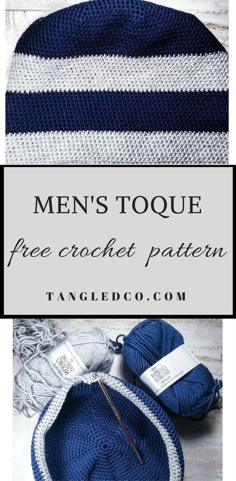Men\'s Striped Toque - Free Crochet Pattern | Gorro tejido y Tejido
