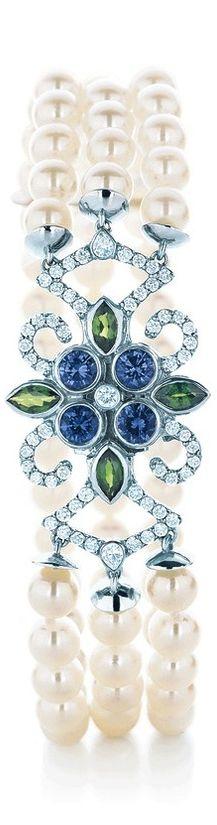 Tiffany 2013 Blue Book  ~   A bracelet of cultured pearls, Montana sapphires, tsavorites and diamonds evokes an endless summer beneath a pristine sky.