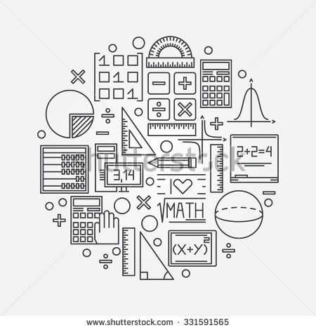 Math linear illustration - vector mathematics education circle background design concept