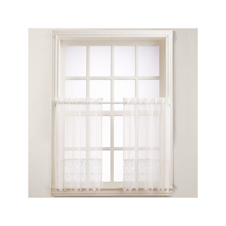 No918 Joy Lace Tier Curtains, Beig/Green (Beig/Khaki)