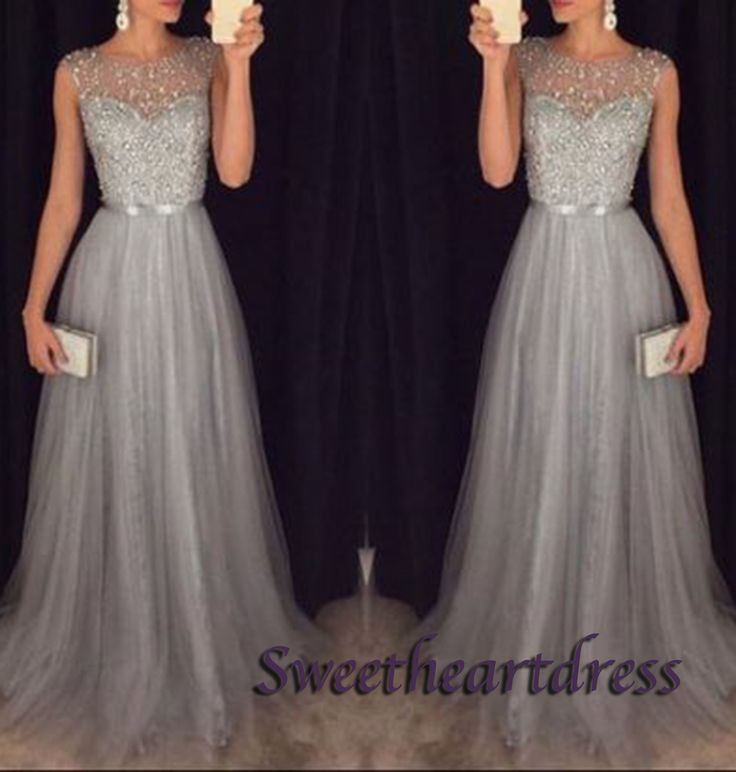Elegant grey chiffon sequins long A-line prom dress with silver belt, ball gown 2016, modest prom dress #coniefox #2016prom