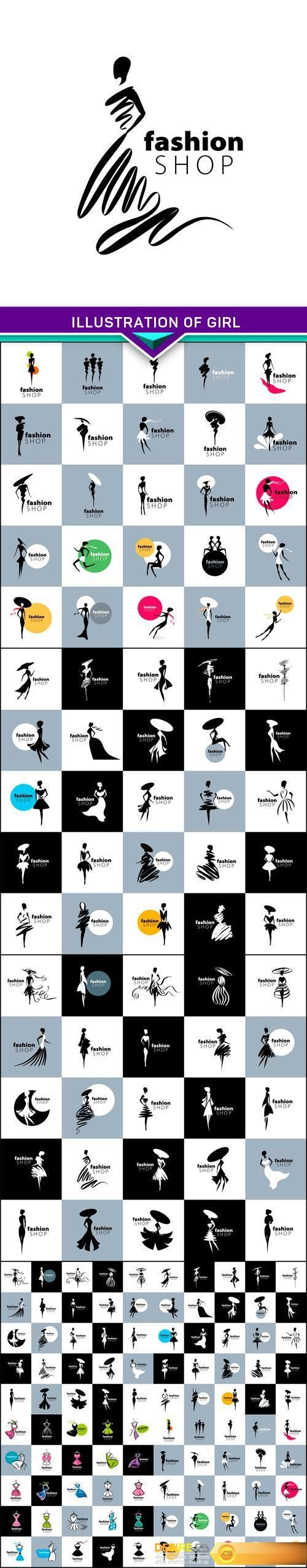 Find your Grapfix Desire With US http://www.desirefx.me/illustration-of-girl-vector-logo-for-womens-fashion-5x-eps/