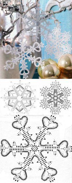 Новогодние снежинки крючком. Снежинки связанные крючком схемы | Домоводство для всей семьи