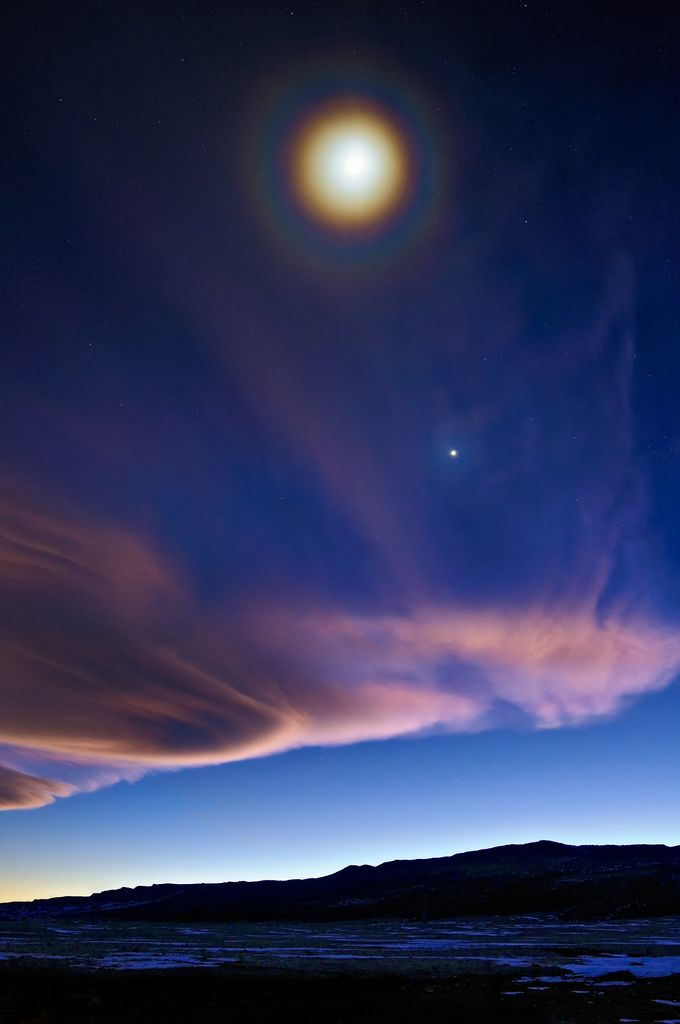 """""""Full Moon Halo Over a First Quarter Moon"""" - photo by Michael Menefee, via Flickr;  the moon and Venus, seen from Colorado, 1/31/09"""
