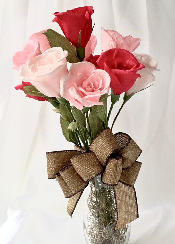 Alternative To Rose Garden: One Dozen Paper Rose Bouquet, Customizable, Crepe Paper