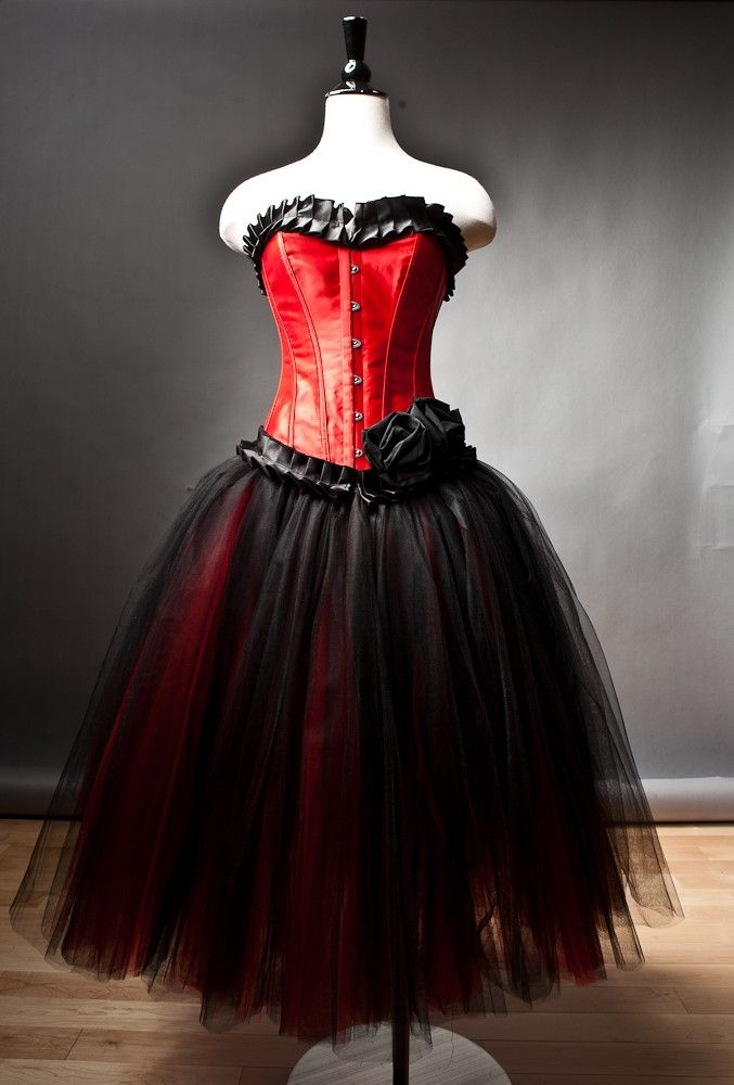 Custom size red and black burlesque corset prom dress tea for Red tea length wedding dress