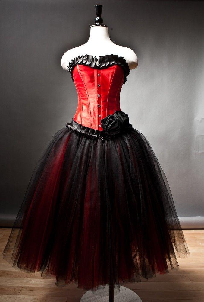 Custom size red and black burlesque corset prom dress tea for Red tea length wedding dress