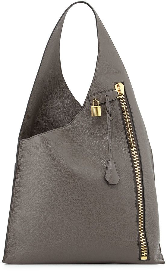 Tom Ford Alix Zip Hobo Bag, Dark Gray