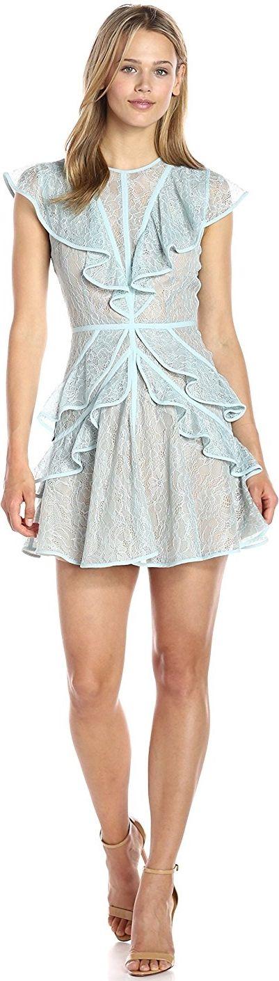 BCBGMax Azria Women's Kimbriella Dress Aqua Mist Floral lace ruffles Round neck Sleeveless