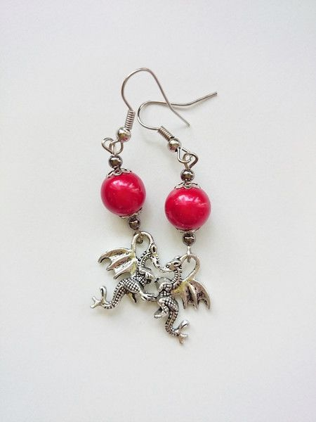 #dragon #girl #women #jewelry #earrings #red Kolczyki+smok+w+barbarella+na+DaWanda.com