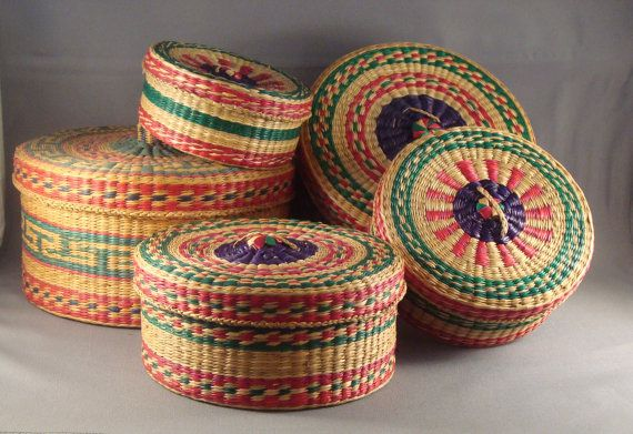 Unique Vintage Italian Nesting Sewing Baskets by DominionDesign, $35.00