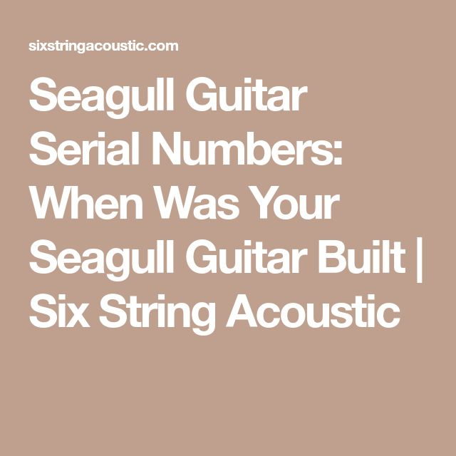 Seagull Guitar Serial Numbers: When Was Your Seagull Guitar Built | Six String Acoustic