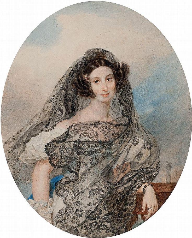 Karl Briullov (1799-1852) Portrait of Giovanina Pacini (1803-1875) signed 'C…