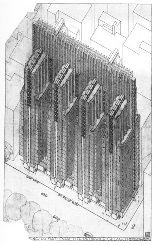 """Sketch - National Life Insurance Co. Building. Project / slated for the North end of the Magnificent Mile / commissioned - design 1923–25 / Frank Lloyd Wright -- A 25-story fortress of intricate copper panels. A set of four main transepts, the floors would be cantilevered off of groups of reinforced concrete pylons. """"There is no unsalable floor space in this building created 'for effect', and no features manufactured 'for effect,'"""" Wright said of his design."""