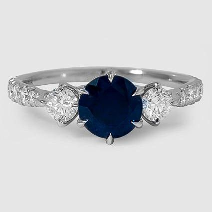 18K White Gold Gramercy Diamond Ring Set with 6.5mm Round Blue Sapphire PRICE: $4,140
