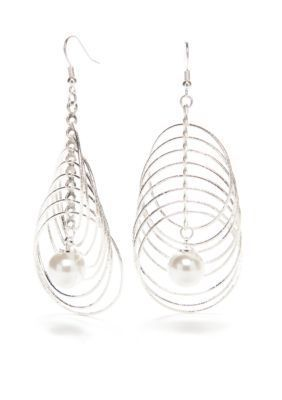 Kim Rogers  Silver-Tone Sensitive Skin Pearl and Ring Drop Earrings