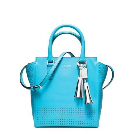 coach legacy crossbody bags | Coach Legacy Perforated Mini Tanner Crossbody in Blue (sv/robin/chalk ...