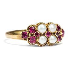Victorian, um 1866: Gold Ring mit Naturperlen & Rubin, Verlobungsring, Perlen