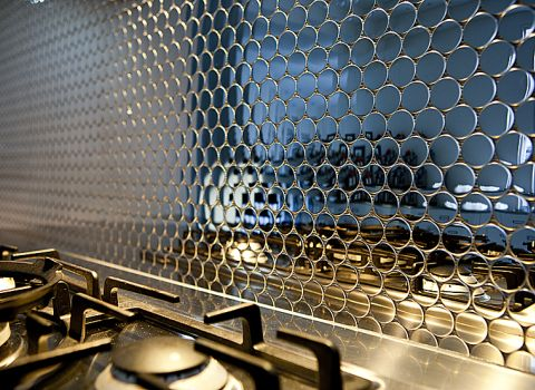 Mosaic Stainless Steel Backsplash With