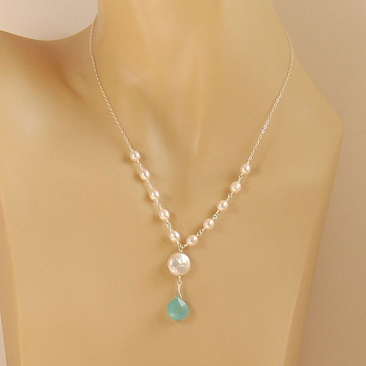 Coin Pearl, Blue Chalcedony, Freshwater Pearl Necklace in Sterling Silver - The Sky Dreams Necklace. $32.00, via Etsy.
