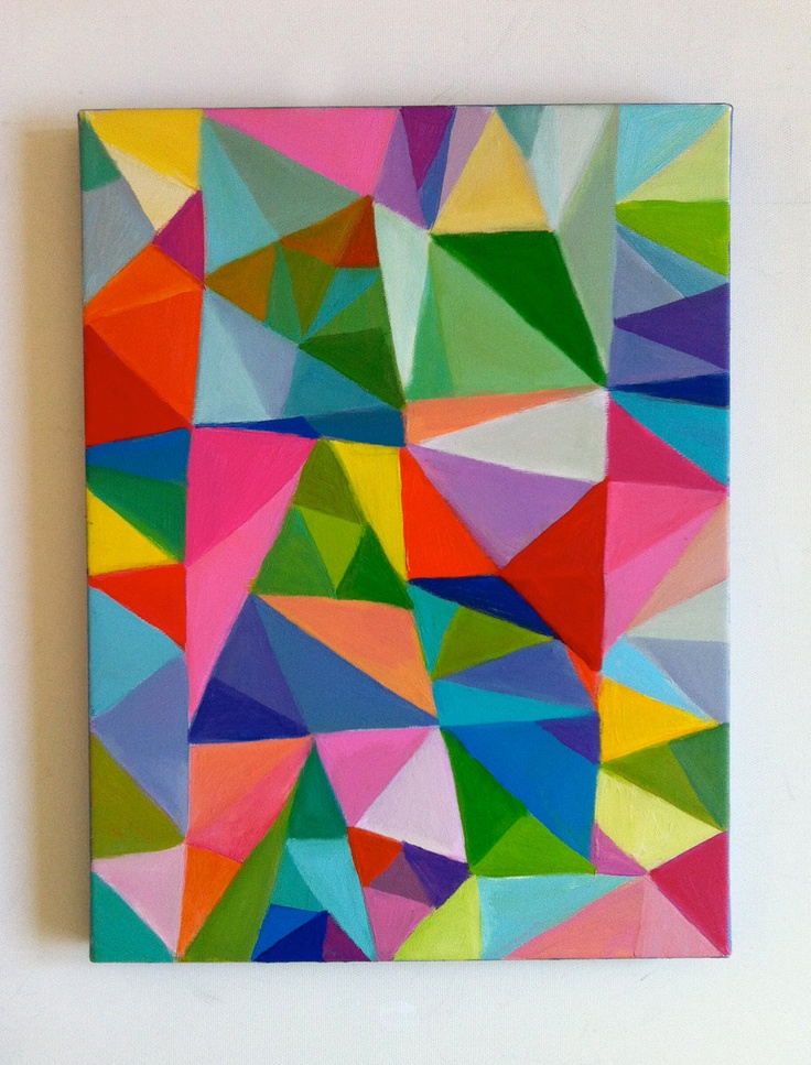 Abstract Painting / Triangles/ Home Decor / Mosaic / rainbow/ colorful / abstract ART. $85.00, via Etsy.