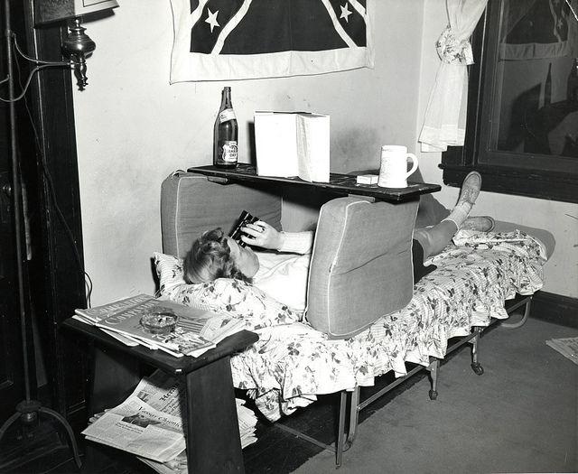 A student 'studies' in her dorm room. 1951. Vassar College