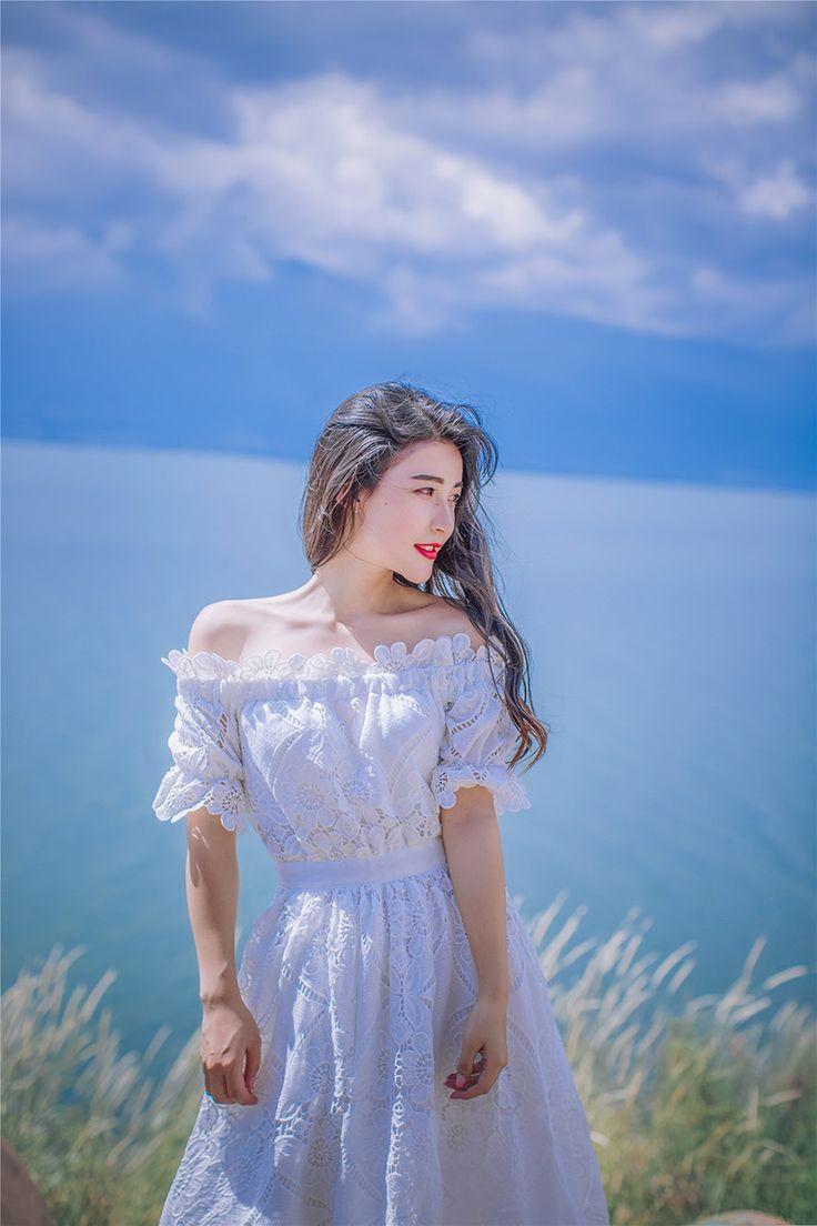 Sexemara/Симпатичные выдалбливают Белое Кружевное платье женские летние Высокая талия с открытыми плечами пляжные платья Элегантный Макси длинное платьекупить в магазине SexeMaraFactory StoreнаAliExpress