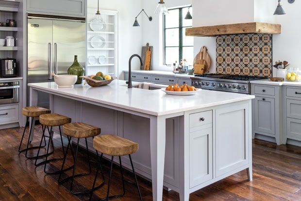 Ignore this photo and link to transitional kitchen (video: blend of traditional, contemporary and eclectic). Like the white shaker cabinets, gray counter and backsplash.