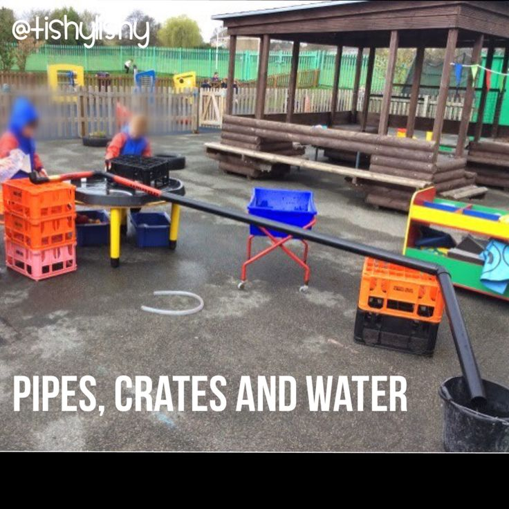 Outside water play with pipes, tuff spot, crates and tubes.