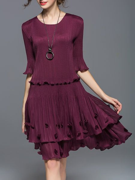 Shop Midi Dresses - Wine Red A-line Outdoor Appliqued Midi Dress online. Discover unique designers fashion at StyleWe.com.