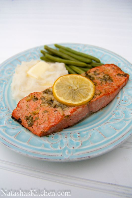 Baked Salmon Recipe with Garlic & Dijon by natashaskitchen: Fancy and delicious yet surprisingly easy and quick to make!  #Salmon #Easy #Healthy