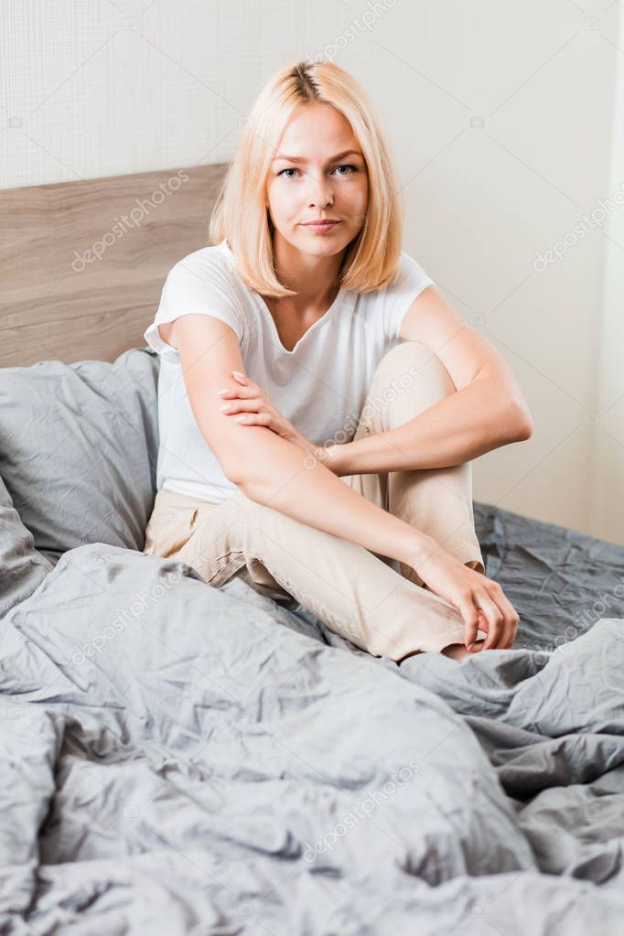 Blonde Woman Sitting In Bed At Home Stock Photo Aff Sitting